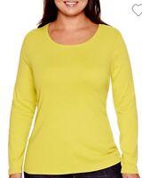 NWT Stylus Women's Plus Size Green Cotton Long Sleeve Crew Neck Tee Top 2X/3X