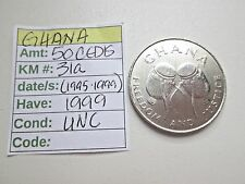 Single coin from GHANA, 1999, 50 cedis, Km 31a (1995-1999), Unc.