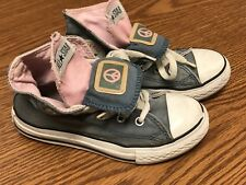 Converse All Star Peace Love Sign Toddler Blue White Pink Shoes Sneakers Sz 12C