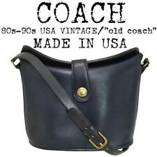 COACH Vintage 1980-90s Made in USA Push lock duffle sack Bag Navy From JAPAN F/S