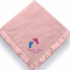 personalized baby girl feet blanket ~ Embroidered Baby girl feet blanket