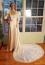 VTG White Wedding Dress Long Sleeves Collar Lace Pearls Long / Preserved XS