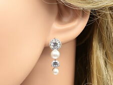 Sparkly White cubic zirconia pearl silver plated dangle string drop earrings R26
