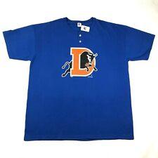 Durham Bulls Mens 2XL Royal Blue T Tee Shirt Crew Neck Henley 2 Button Russell