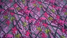 "Sassy B Pink Camo 3 Bar Warp Knit Suede Fabric 60""W Apparel Velvet True Timber"
