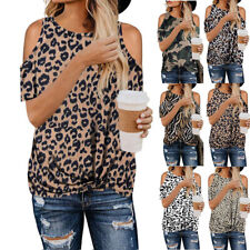 UK Womens Leopard Print TShirt Summer Tops Ladies Cold Shoulder Shirt Blouse