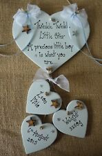 NEW BORN BABY BOY PLAQUES PERSONALISED BIRTH CHRISTENING GIFTS