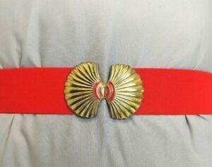 Vtg Scallop Seashell Stretchy Red Gold Tone Belt