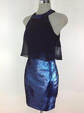 Guess Los Angeles Taglia Vestito 0 Blu Cobalto Nero con Paillettes