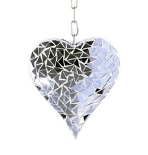 Silver Mosaic Glass Hanging Suncatcher Heart Mobile Garden Home Ornament