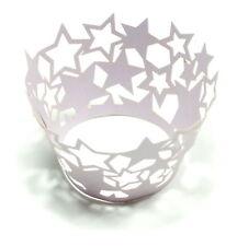 Stern -Cupcake-Dekoration im 12er Pack in Glitter- Hell-Lila für Muffins / Party