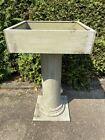 Antique Vintage Wood Pedestal Column Planter Table