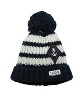 IKKS 173785 Baby Kids Boys Striped Cable knit Beanie Blue Size 3 Months