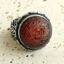 925 Sterling Silver Ring Carnelian Aqeeq Unique Talisman Seal of Solomon