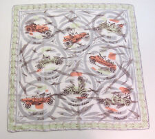 VINTAGE 1950s CLASSIC CARS HANDKERCHIEF COTTON LINEN NEVER USED STANLEY STEAMER