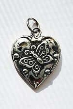 .925 Sterling Puffy Puffed Heart Charm Butterfly
