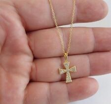 CROSS NECKLACE PEDANT W/ LAB DIAMONDS/ 14K YELLOW GOLD OVER 925 STERLING SILVER