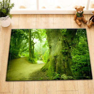 Green Tree Forest Road Room Floor Soft Carpet Non-skid Door Bath Mat Decor Rugs