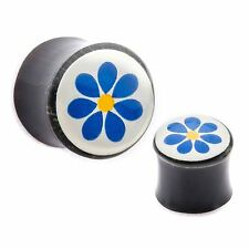 Plugs 05mm/4 Gauge Body Jewelry Pair-Horn w/Blue Flower Saddle Flare Ear
