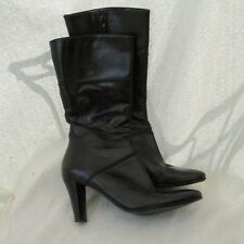 Nine West Boots Everettr Woman 7.5 Shoe Black Leather Side Zip Heel
