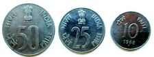 India lot of 3 coins 25, 10, 50 1988-1990 paise