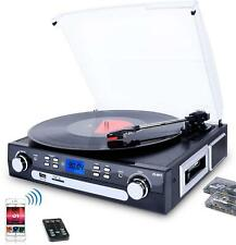 3-Speed Bluetooth Record Player Turntable for Vinyl to MP3 for AM/FM Radio