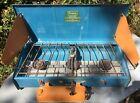 Sears Roebuck Co. Vintage Three-Burner Camp Stove Blue/ Orange working condition