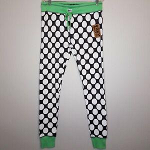 Lazy One PJ Leggings Pants Lounge Polka Dots Black White Beary Tired NWT