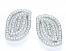 BELLE DROP LEAF EARRINGS 925 STERLING SILVER PAVE SET CZ EARRINGS - J JAZ