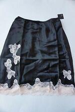"Victoria's Secret silk half slip size S black with beige tan lace 19"" length NWT"
