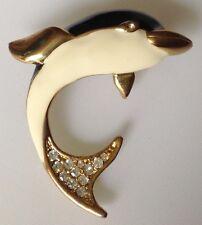 broche dauphin couleur or relief émail noir et blanc œil cristal diamant 436