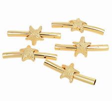 5 Metallperlen RÖHRCHEN gebogen 35mm goldfarbig Perlen Spacer nenad-design AN362