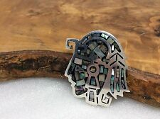 Vintage 925 Sterling Silver Taxco Abalone Inlay Indian Head Pin/pendant