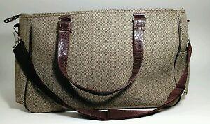 "Brown Twill Harringbone Purse Tote Shoulder Bag  16"""
