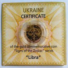 LIBRA Ukraine 2 UAH 2008 Pure Gold Au 999,9 Coin 1/25 Oz Signs of Zodiac KM# 486
