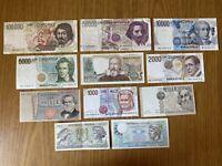 LOTTO 11 BANCONOTE LIRE 100000 CARAVAGGIO 50000 BERNINI 5000 BELLINI 2000 1000