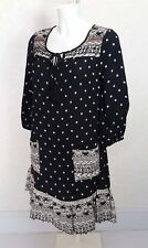 FALMER spotted black white Viscose tassels 3/4 sleeve Mini casual tunic dress 8
