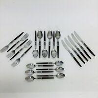 VTG Interpur Stainless Flatware Japan 22Pcs Danish Wood Handle Fork Knife Spoon