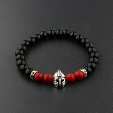 Charm Men Natural Red Agate Lava Stone Silver Spartan Helmet Bracelet 8mm Beaded