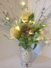 Artificial Flowers Yellow & Gold Roses In Silver Sparkle Vase Lights Up