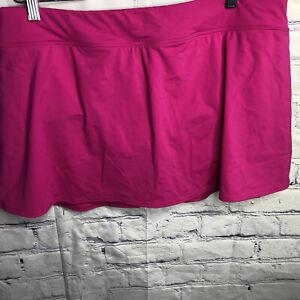 Lands' End Womens Swim Skirt Skort with built in swim bottom Pink 16W NWT