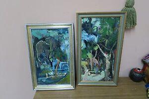 Set @ 2 Signed Chaim - Haiim '68 Green Oil on Board Painting  Israel Judaica