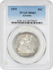 1855 50c PCGS MS63 (Arrows) Liberty Seated Half Dollar - Satiny Type Coin