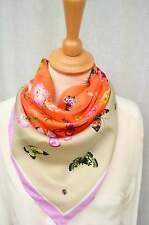 CODELLO Tuch Schal Carre Seide Herzen beige pink rosa türkis blau Blumen NEU!