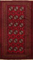 Geometric Classic Balouch Afghan Area Rug Hand-knotted Tribal Foyer Carpet 4x6