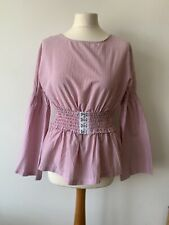 Primark Peplum Top Flute Sleeves Pink White Stripes Size 14 Elasticated Waist