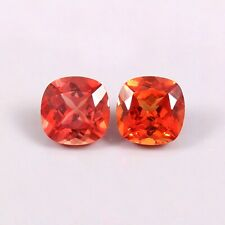 Natural Ceylon Orange Fanta Sapphire Loose Cushion Gemstone Cut Matched Pair 7x7