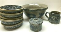 Lof of BEAUMONT BROTHERS Stoneware Pottery Blue Spongeware Bowls Mug Sugar