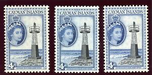 Cayman Islands 1953 QEII 4d in all listed shades MNH. SG 155, 155a & 155b.
