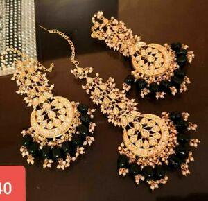 Indian Black Pearl Kundan Aalia Earrings Maang Tikka Fashion Traditional Jewelry